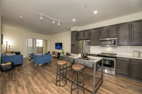Kitchen and living room l Metro 510 in Riverside Ca