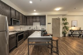 Living room and kitchen l Metro 510 Apartment for rent in Riverside Ca