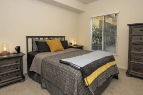 Bedroom with window l Metro 510 Apartment for rent in Riverside Ca