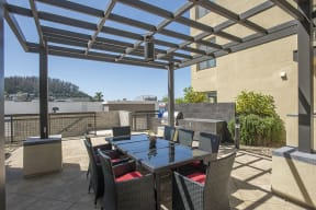 Courtyard are with seating and BBQ l Metro 510 Apartments in Riverside Ca