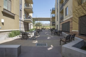 Courtyard are with seating l Metro 510 Apartments in Riverside Ca