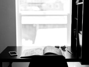 Desk and book