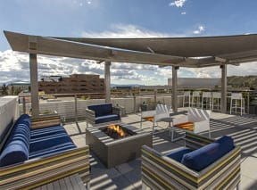 Rooftop seating area with firepit