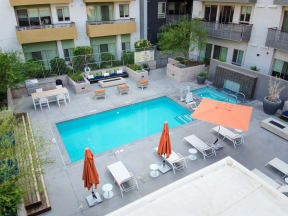 Aerial view of outdoor pool area