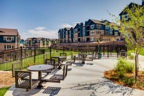 Outside seating at Windsor at Pinehurst, Lakewood, Colorado