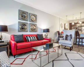 Contemporary sofa seating area in apartments in round rock texas