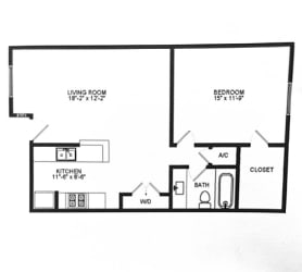 A17 Floor Plan at Chateaux Dupre Apartments, The Barvin Group, Houston, TX, 77063