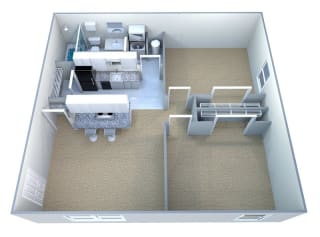 Floor Plan 2 Bedrooms, 1 Bathroom