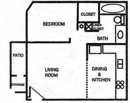 Whispering Waters Apts 1 Bedroom Floor Plan