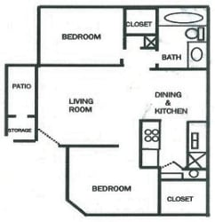 Whispering Waters 2 bed 1 bath floorplan