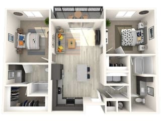 B4 Floor Plan at Paradise @ P83 Apartments, P.B. BELL Assets, Peoria, AZ