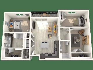 C3 2 bedroom 2 Bath Floor Plan at Paradise @ P83, Peoria, 85382