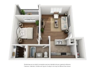 One-Bedroom Floor Plan A1   Avenues at Creekside Apartments