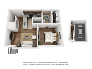 One-Bedroom Floor Plan A3   Avenues at Creekside Apartments