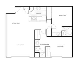 Allure Apts Ridge Floor Plan (2 Bedroom)