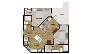 B1 Floor Plan at Brixton South Shore, Austin, Texas