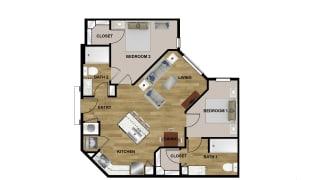 B1 Floor Plan at Brixton South Shore, Austin, 78741