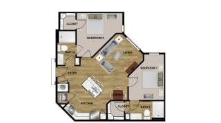 B1 Floor Plan at Brixton South Shore, Austin, TX