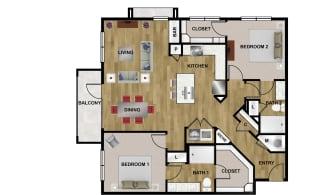 B3 Floor Plan at Brixton South Shore, Texas, 78741