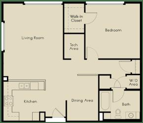 1 bed  1 Bath 883-942 square feet floor plan A