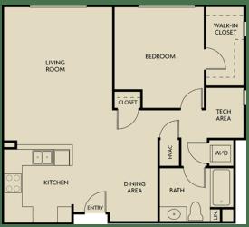 1 bed  1 Bath 892 square feet floor plan B