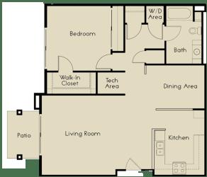 1 bed  1 Bath 976 square feet floor plan C