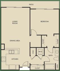 1 bed  1 Bath 832-835 square feet floor plan D