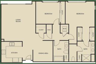 2 bed  2 Bath 1269 square feet floor plan A