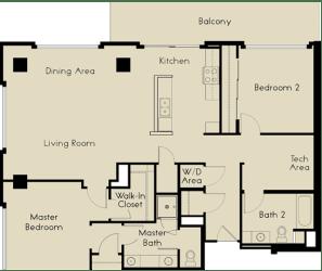 2 bed  2 Bath 1359-1393 square feet floor plan B