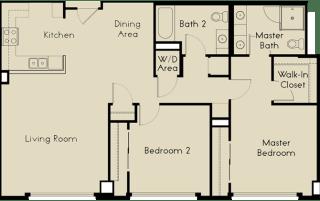 2 bed  2 Bath 1166 square feet floor plan C