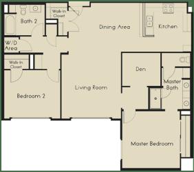 2 bed  2 Bath 1368 square feet floor plan E