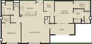 2 bed  2 Bath 1296-1359 square feet floor plan G