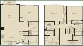 2 bed + Den 3 Bath 1597-1602 square feet floor plan Townhouse