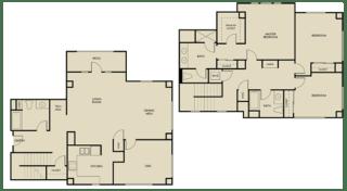 3 bed + Den 3 Bath 1900-1945 square feet Townhouse floor plan