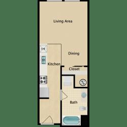 Plan A, Studio, 1 ba, 420 sq. ft.