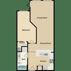 Plan B 2, 1 br, 1 ba, 720 sq. ft.