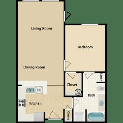 Plan B, 1 br, 1 ba, 712 sq. ft.