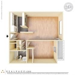 1 Bed, 1 Bath, 640 square feet floor plan Regular One Bedroom 3D