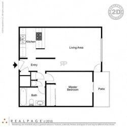 1 Bed, 1 Bath, 640 square feet floor plan Regular One Bedroom