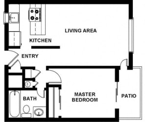 1 Bed, 1 Bath, 640 square feet floor plan Regular One Bedroom 2