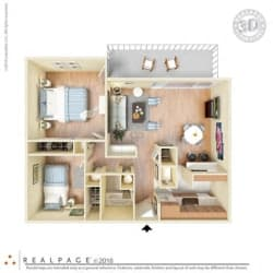 2 Bed, 1 Bath, 840 square feet floor plan Two Bedroom 3d furnished