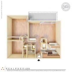 2 Bed, 1 Bath, 840 square feet floor plan Two Bedroom 3d