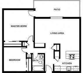 2 Bed, 1 Bath, 840 square feet floor plan Two Bedroom 2