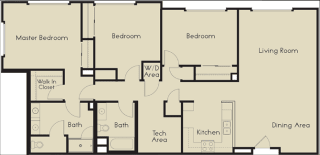 3 bed 2 Bath 1585 square feet floor plan C