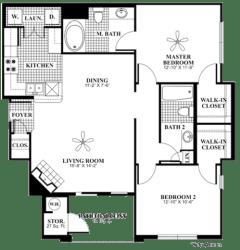 2 bed 2 Bath 1060 square feet Revive floor plan