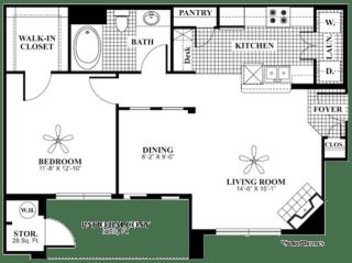 1 bed 1 Bath 820 square feet serenity floor plan