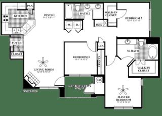 3 bed 2 Bath 1285 square feet Splendor floor plan