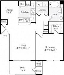 1 Bed 1 Bath 728 square feet floor plan Plan A