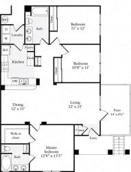 3 Bed 2 Bath 1238 square feet floor plan A