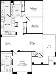 3 Bed 2 Bath 1324 square feet floor plan B